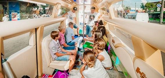 kids inside of limo celebrating birthday