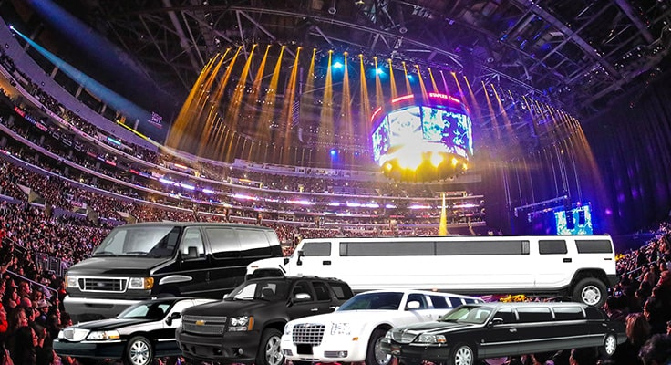 image of limo and concert arena -collage symbolizing concert limo