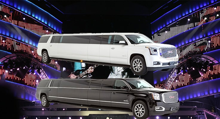 collage symbolizing concert limo service