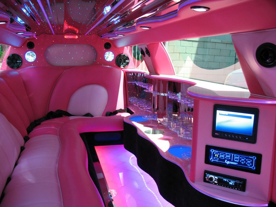 image of pink limo interior for birthday party