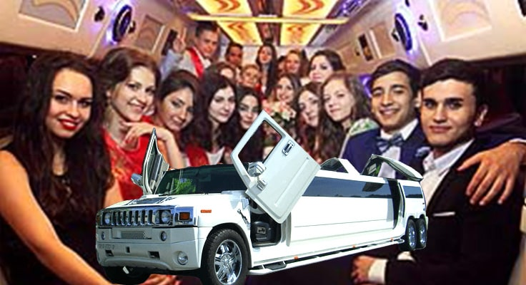 image showing people inside of limo for prom night