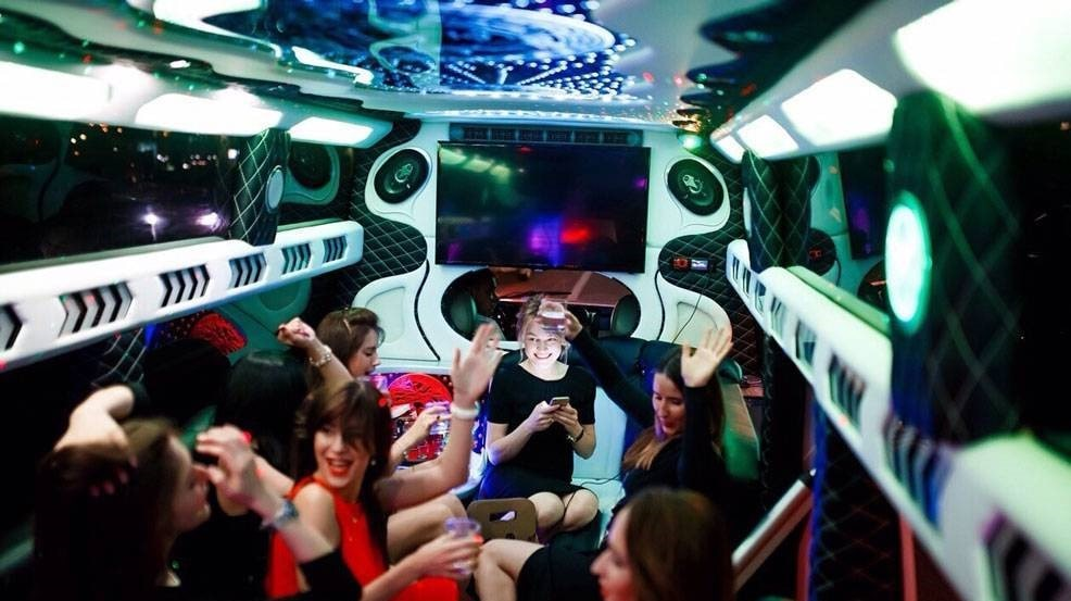 image of people inside limo during their birthday party
