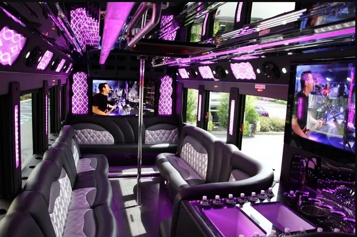 image is showing purple interior with a pole in a party bus