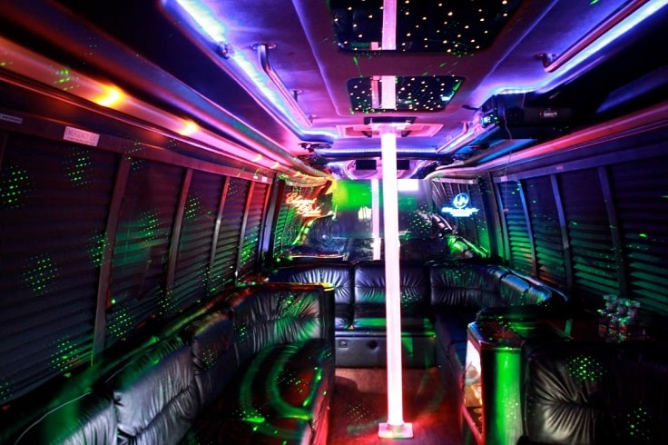 image if party bus interior with lighting pole