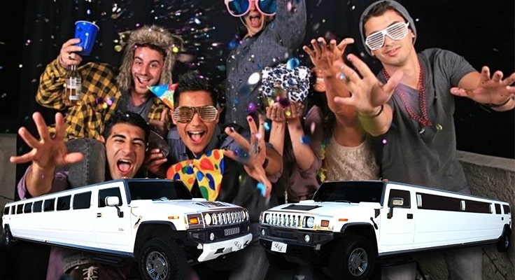 image is showing the bachelor party with limo