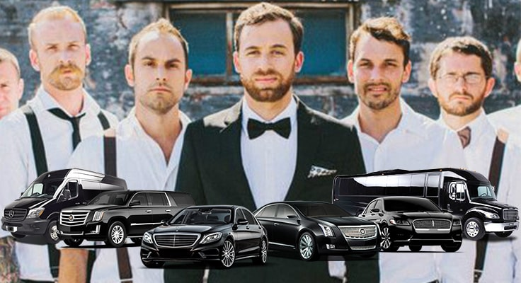 image is showing bachelor party with black limos