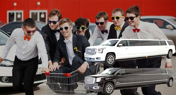 image is showing bachelor party with black and white limos