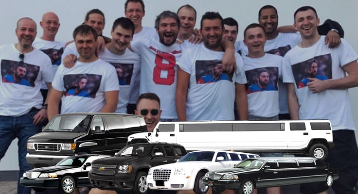 image is showing bachelor party with limos