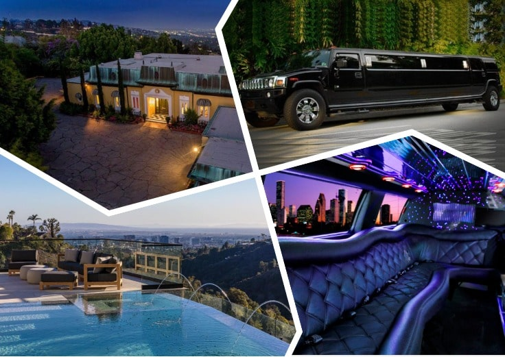 image is showing a collage of bel air infinity pool, limousine interior, and luxury house