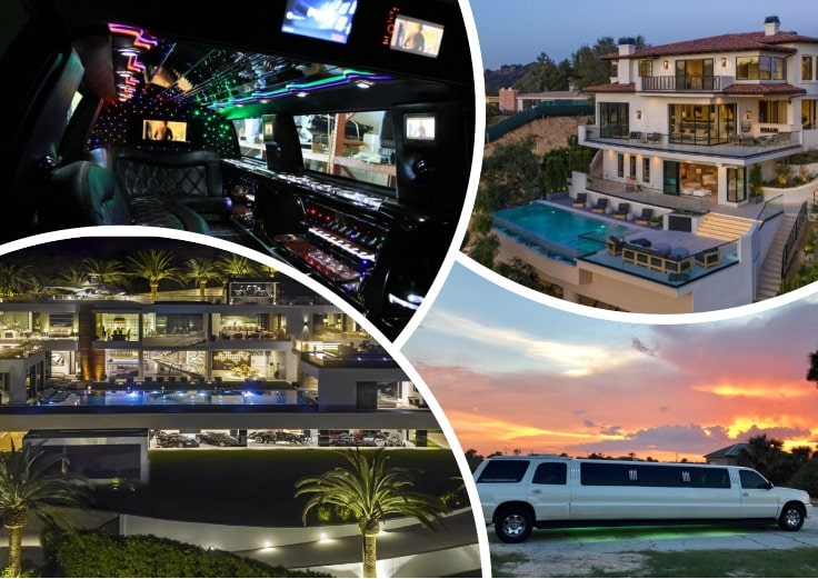 image is showing a collage with bel air luxury houses and limousine interiors
