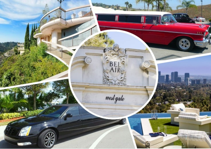 image is showing a collage about bel air views and black and red limos