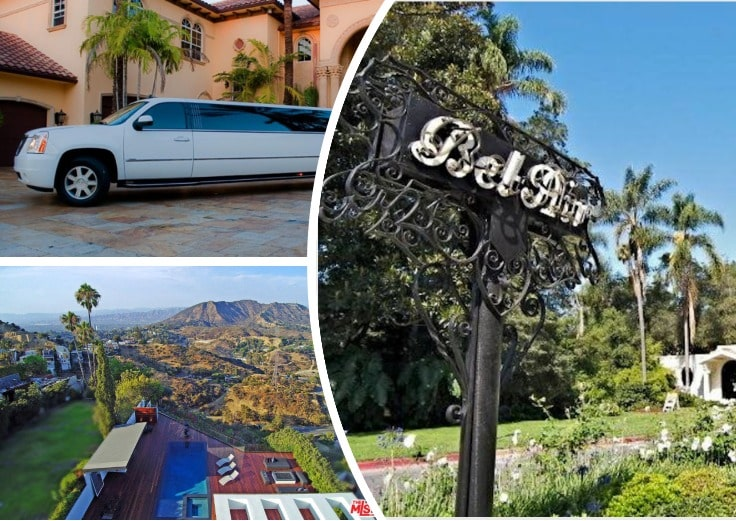 image is showing a collage of bel air sign, and hills views