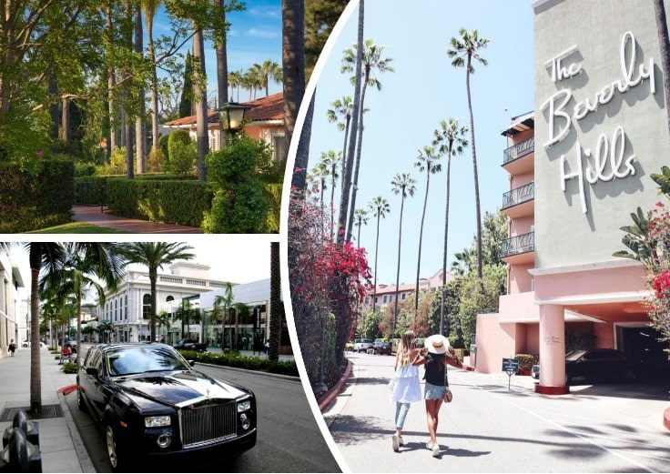 image is showing two girls near Beverly Hills hotel and black limo
