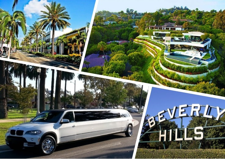 image is showing a collage about Beverly Hills views and white limo