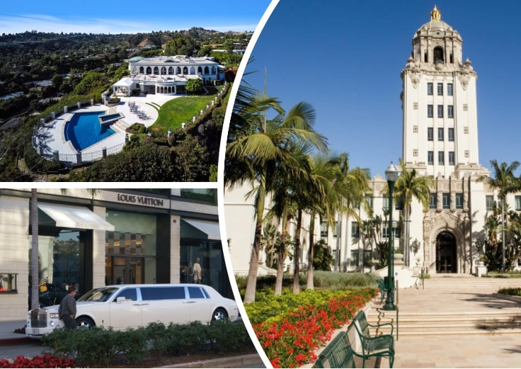 image is showing a collage about Beverly Hills Hall and white limo