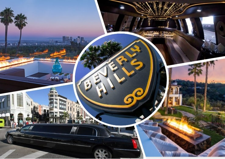 image is showing a collage about Beverly Hills views and black limo