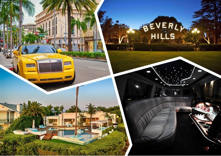 image is showing a collage about Beverly Hills views and yellow car