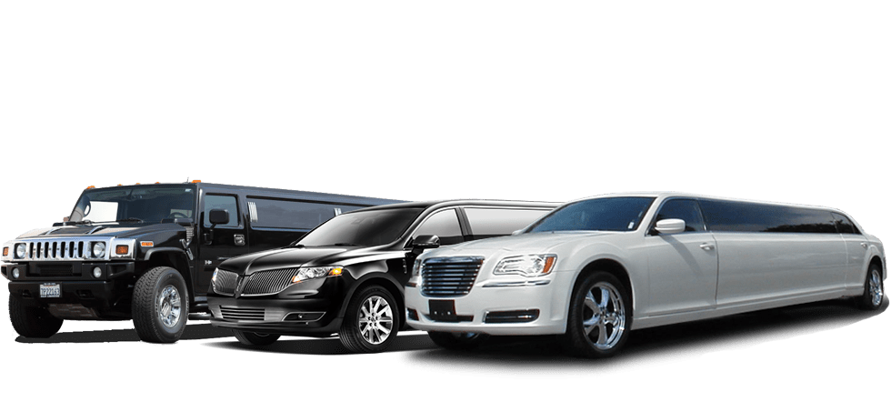image is showing Black and white Limousines in Burbank, California