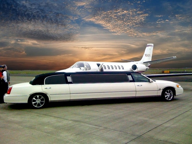 image is showing white Limousine in Burbank airport