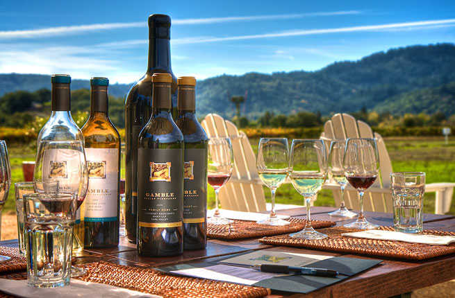 image is showing bottles with wine and valley of vineyards in napa