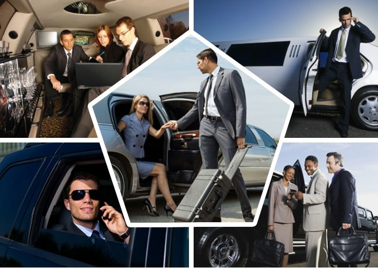 image is showing collage of corporate limo and business men