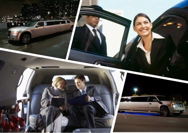 image is showing a collage about bussines travel and corporate limousines
