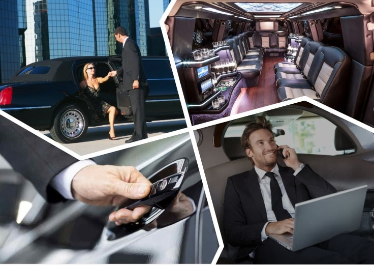 image is showing a collage about bussines travel and corporate limo