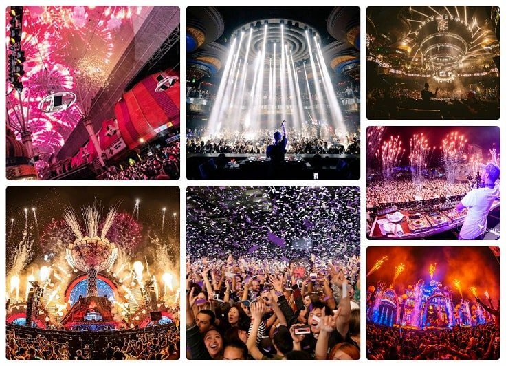 image is showing collage about concerts in Las Vegas