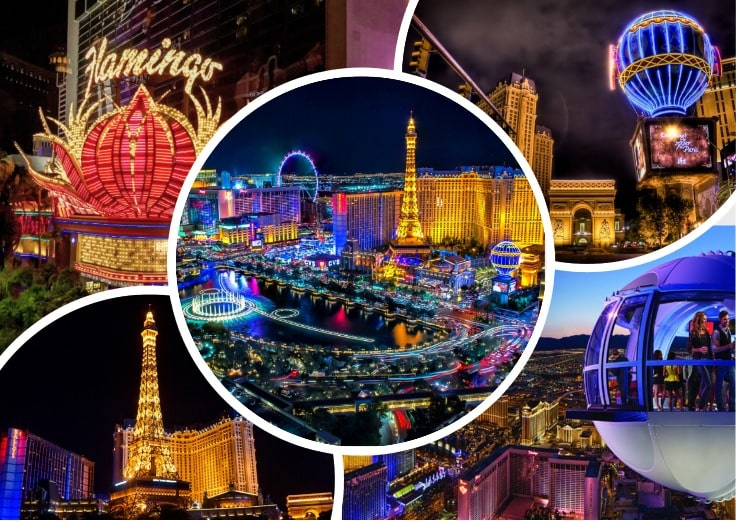 image is showing collage of flamingo, paris, and other hotels in Las Vegas