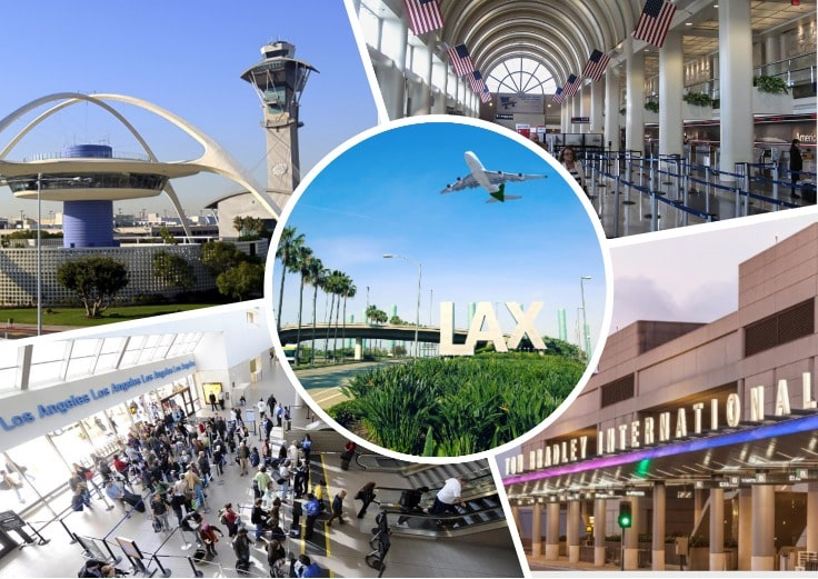 image is showing collage about LAX with different views