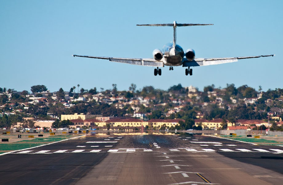 image is showing airplane landing at LAX Los Angeles airport