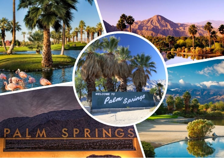 image is showing collage of Palm Springs views