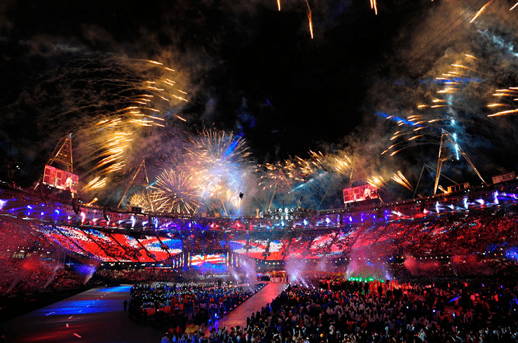 image is showing Sporting Event with fireworks