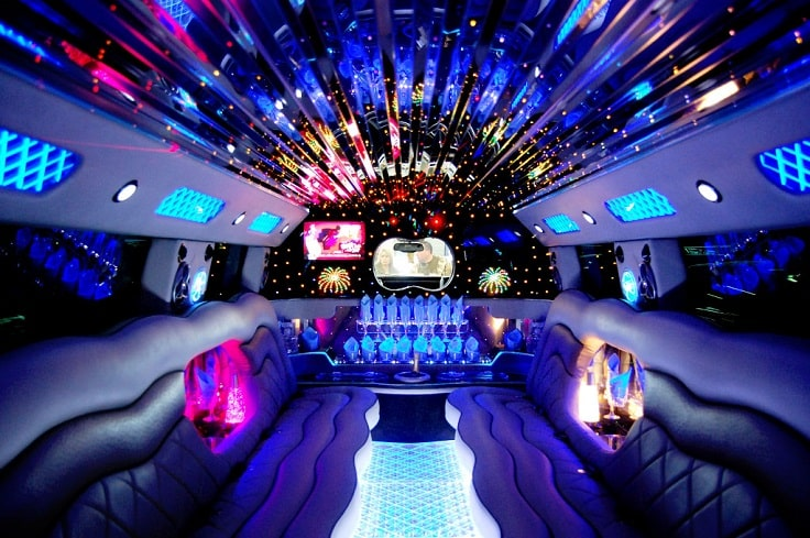 image is showing blue interior limousine