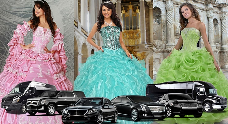 image showing collage of quinceaneara dresses girls and limos