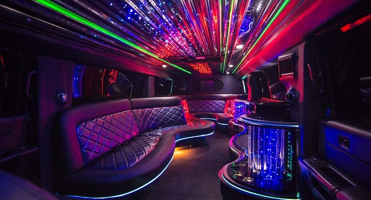 image is showing a limo interior