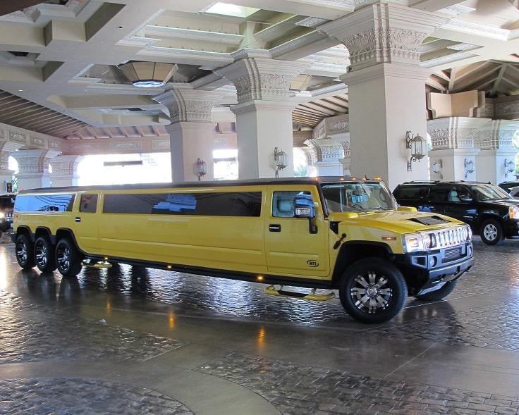 image is showing yellow Hammer Limousine in Las Vegas hotel