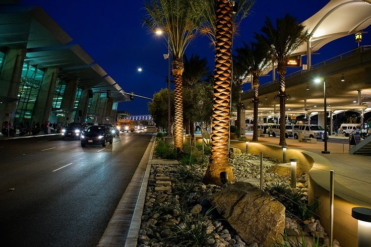 image is showing airport LAX at night