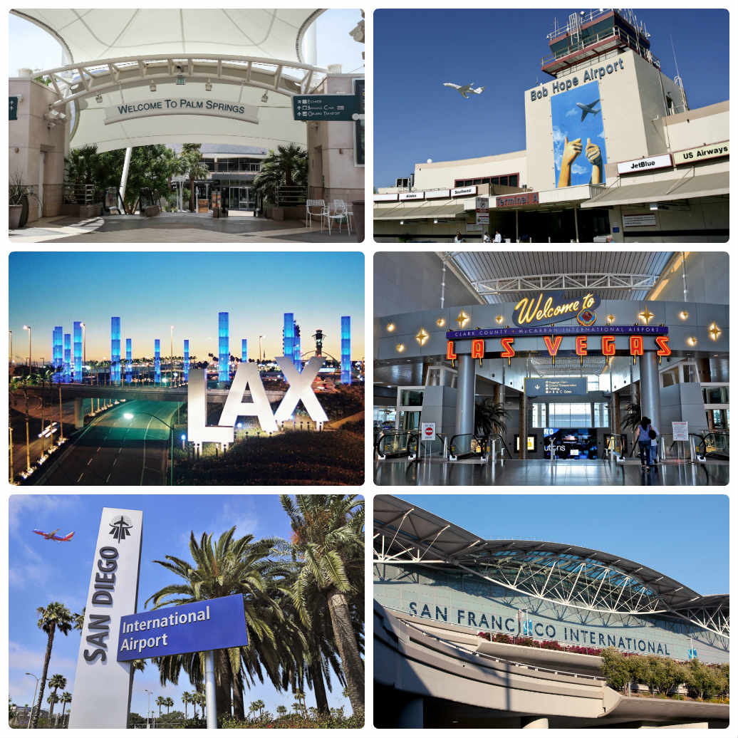 image is showing collage about airports for limousine pick up and drop offs