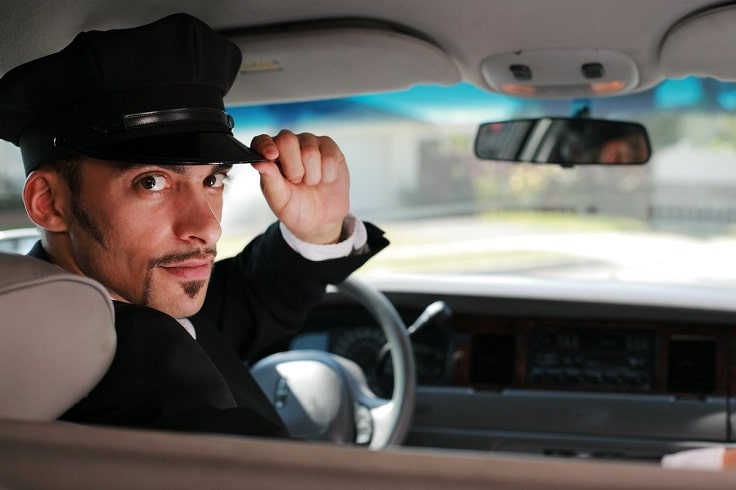 image is showing chauffeur in limo