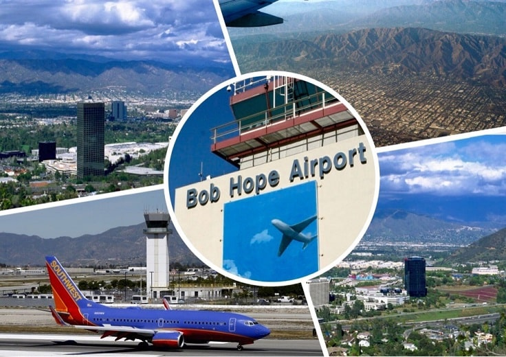 image is showing collage about Burbank airport view