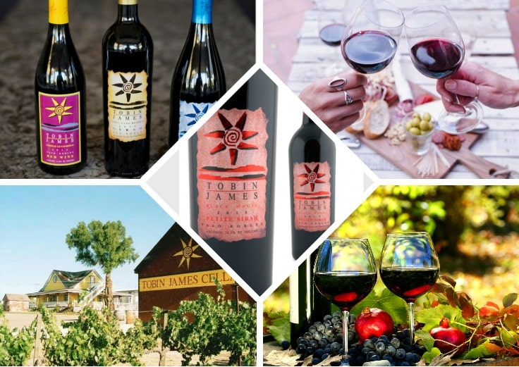 image is showing collage of bottles of wine in Tobin James Winery, California