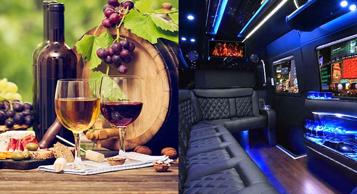 image is showing limousine with glasses of wine