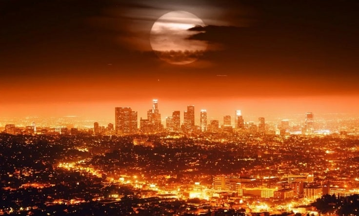 image is showing Los Angeles City at night time