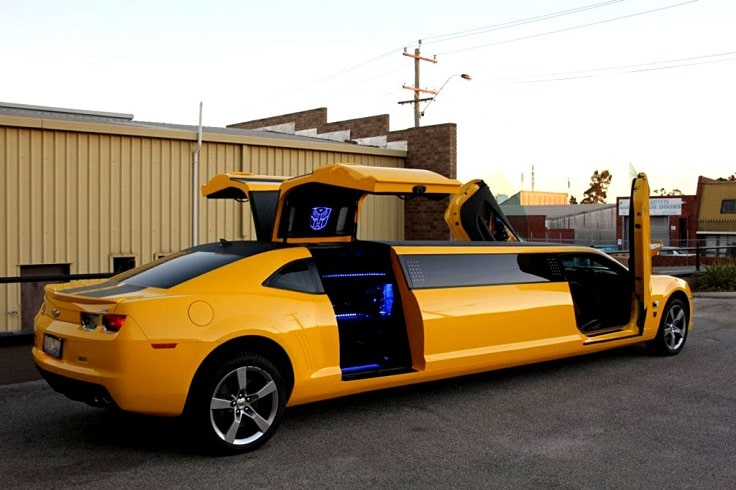 image is showing yellow Camaro Limousine