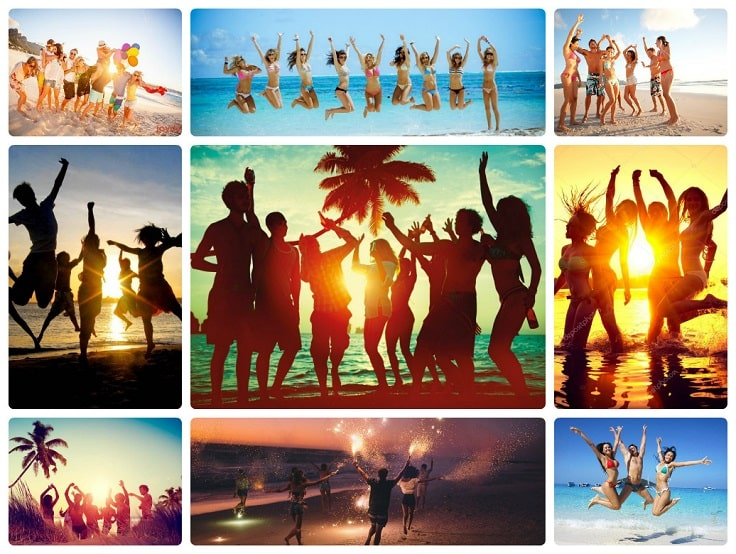 image is showing collage about beach party in Los Angeles City at night time