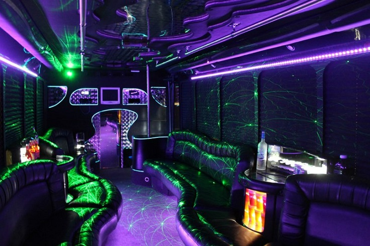 image is showing a party bus in California