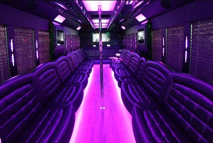 image purple party bus interior