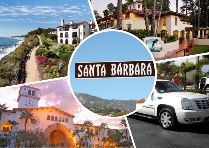 image is showing a collage about Santa Barbara and party bus tours