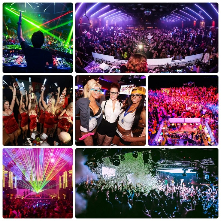 image is showing collage about limo party in Los Angeles City at night time